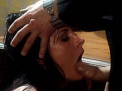 Alektra Blue is in heaven eating guys erect meat pole