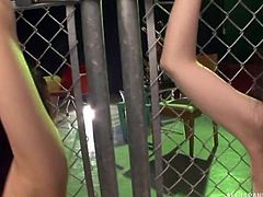Chained to the fence and bent over, Aya and her slutty friend get pounded hard from behind. The innocent, young Japanese sex slaves get their throats pounded by massive cocks. They are dirty receptacles for giant penises.