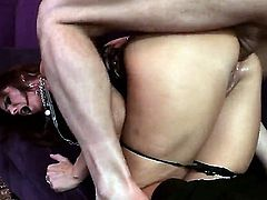 Syren De Mer is working as a psychic. When a guy walks in, she tells him that she sees some sex in his immediate future. She opens up her ass to him.
