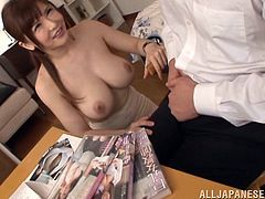 She is shocked to see that her student has been taking pictures of her massive boobs and masturbating to them. The busty tutor takes off her top and makes him jerk off in front of her, as punishment for being a pervert.