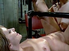 Bound Up Blondie has Toyed And banged about the Strap-on