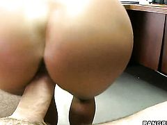 Chachita Esperanza Gomez with phat bottom has fire in her eyes while eating mans hard tool