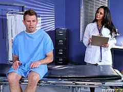 Dr. Ava notices one of her patients in having problems with his erection. She need to find out what is wrong with his cock, and the only way to do that, is to jack him off. If he can cum, then she knows that his testicle are in working order. She will suck him off to make sure.