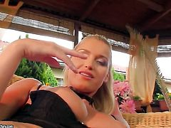 Blonde Kathia Nobili has a great time dildoing her honeypot