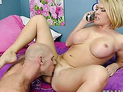 Johnny Sins is one hard-dicked dude who loves oral sex with Krissy Lynn with gigantic knockers