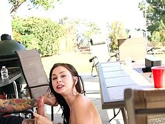 Inked, pierced and often naked, the actors and actresses of Burning Angel are outside on the patio, having some food and drinks. Lily and Vera are already naked as they are very horny. They start sucking and fucking right at the table. Is that bad manners to have sex at the table?