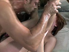 Italian porn stars are naked in this scene with a dude. They are having a threesome and one bitch is helping guide a hard dick inside her friends wet pussy.