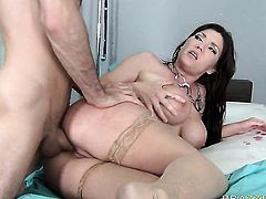 James Deen whips out his rod to fuck Claire Dames with gigantic jugs in the back swing
