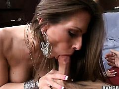Brunette temptress Rachel Roxxx with giant knockers is one hot cock rider that loves it so much