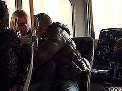 Lindsey Olsen Ass Fucked on the Public Bus;  AMATEUR, BLONDE, BLOWJOB, BUS SEX, CUMSHOT, NATURAL TIT