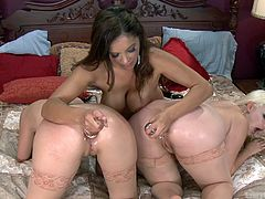 Alice and Miranda are no strangers to straight or lesbian sex, but they haven't been initiated by Francesca yet. Ms. Le gives them a true introduction, by greasing up their assholes and pushing large dildos inside them. The splendid ladies get their back doors stretched and expanded by a dominant milf.