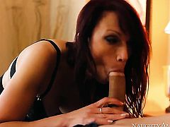 Dirty babe is giving a blow job