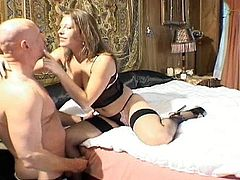 Dirty perverted man makes love to this chick's pussy with his tongue