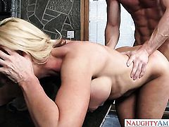 With big knockers and trimmed twat learns more about hardcore sex from horny guy Ryan Mclane