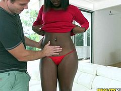 Robby has a great desire for lovely chocolate women, which is why he brought in the beautiful, voluptuous Camille. Her body is dark, brown and thick, which is just how he likes it. After she shows off her assets fully clothed, it's time to see her without the clothes on. She gets her mouth full of vanilla.