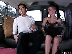 Brunette Christy Mack shows her oral skills in blowjob action with hot guy