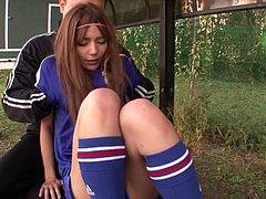 This video is different from regular Japanese porn. Japanese babe Tina Yuzuki, has perfect hourglass figure and the coach is really lucky to have her beautiful body. He rips off her skirt, fondles her boobs roughly, rubs her pussy and this video also features lot of...