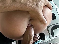 Rocco Siffredi stretches incredibly hot Andy San Dimass mouth with his rock hard boner to the point of no return