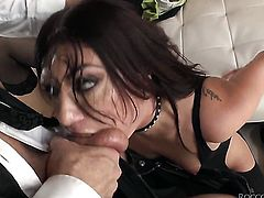 Rocco Siffredi uses his rock solid man meat to bring Tiffany Tyler to the height of pleasure before she gets her throat used