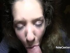 Curly haired babe fucked for cash