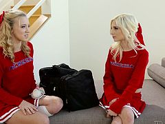 young lesbian cheerleaders are having fun in hotel room @ rival cheerleaders