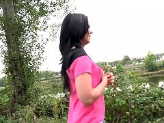 Watch the original video clip of Joanna Black, getting fucked for money. She is reluctant at first, but after offering money, she flashes her tits and even gives nice blowjob to stranger. The guy in this video wisely manipulated her and enjoyed a nice outdoor fuck.