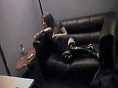 Leather look Russian Girl Bound and Gagged