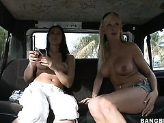 Misty Anderson with big butt gives Eden Adamss pussy a try in girl-on-girl action