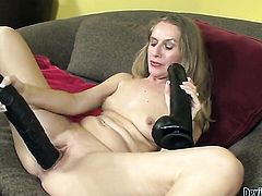 Sara James strokes her muff