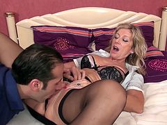 French Mature blonde slut fucking and squirting