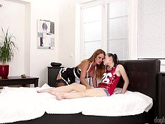 It's time Kristy took things to another level. A versed blonde milf with big boobs is eager to initiate the sweet, innocent brunette babe in all dirty games lesbians usually play. Watch the two of them getting really naughty in bed! Nicole's sexy outfit is a huge turn on, by the way. Have fun and enjoy.