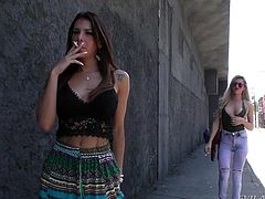 Which one of these nasty sluts has the bigger cock? The babes are chilling and smoking on the street corner, waiting to be picked up. I invited them back to my place and they pulled out their huge rods, so they could masturbate together.