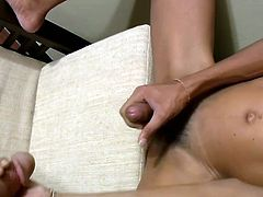 Noi demonstrates her skills as a cocksucker before stripping naked. Femboy worshippers will get weak knees and stiff dicks as she strokes her hard dink until it shoots and immense load of cum...