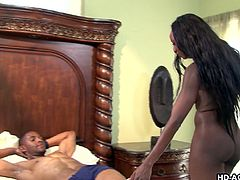 Beautiful ebony queen Diamond Jackson, has perfect body in her age, so she decided to have only hung muscular fuckers. This guy is her first one, who performs as her lover, awaiting his goddess in bed for passionate fuck session, full of hard licking and sucking. That's black mom, dudes!