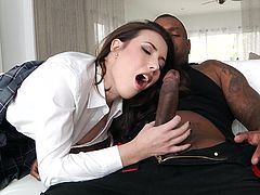 Cute girl gets charmed by muscular bodies of two manly blacks and she wants not to lose her chance to observe their pants, in search of big dark snakes, which would destroy her pussy, and get into her sweet slutty mouth.