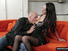 The brunette girl on the casting couch is Eveline Neill. After answering some questions about herself and her life up to this point, she is joined by a man for her first hardcore scene. Her oral skills are put to the test and they move on to pussy and anal fucking. He cums on her ass in the end.