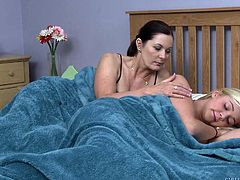 Blonde girl having rest in the room of her boyfriend, while his mother wakes her with a sweet kiss. What consequences will follow after that sudden manifestation of lesbian love? I Guess it would be a hot and passionate lesbian sex between dark haired milf and naive chick.