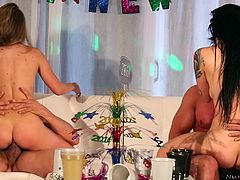 What a celebration of new year! Katrina and Kimmy sure know how to party. Sucking fat cocks, riding and bending over for hardcore pounding. Best new years eve ever. They loved every inch of their cocks. Gotta love girls who know how to party.