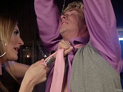 Mona won't let this pathetic slave go. Tied to the rafter and dangling like a fool, she humiliates this slave by laughing at his puny cock. Shock treatment is the only cure for this pervert, so he gets some jolts from Queen Mona.