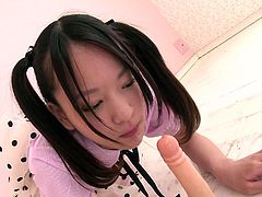 Mikako is a lovely Japanese woman. She still has that sweet and innocent look, but she is a slut in training, of that there is no doubt. She warms up on a dildo, sucking and riding it, getting her ready for the real thing. As always, it starts with the mouth and hers is ready for any cock now.
