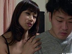 Men fantasize about mature ladies. Better than that are exotic Japanese mature chicks. Slutty milfs from the orient get us hard in a blink of an eye and Kyouka Miyabe is no exception. Her pale tan, curvy body and big tits are more than enough to get the juices flowing.