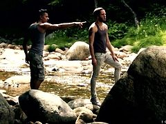 Hiking out in the woods made these hunks super horny. They head back to the lodge, so they can intimately make out. Their nude, muscular flesh is pressed together, as they get rock hard for sex. Don't miss out on this hardcore fucking.