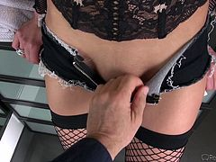 Jayden looks very provocative, wearing kinky fishnet stockings. This bitch has wonderful boobs, which she does not hesitate to show off. Click to watch her on knees, sucking Rocco's appetizing dick! Her buttocks also offer such an inciting view... See more and have fun.