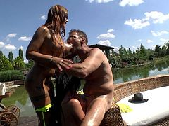 Rocco enjoys the summer, and on a gorgeous and hot day, he takes Kyra and Grace out to his lovely grounds. He waters their beautiful breasts to cool them off, but they would get even hotter, when they began getting at his pants to get his cock out. It's time to suck and fuck.