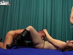 This time Larissa is in charge and she is taking these 2 masked guys on a fetish journey. She is whipping them and gives them a bit of her puffy pussy to enjoy! She is still the dominatrix.