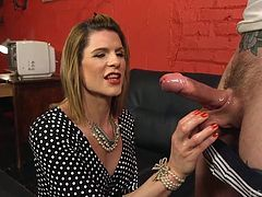The only way Will is getting out of chastity is, if he agrees to suck the cock of sexy tranny milf Delia. He complies and shows that he really knows how to deepthroat lady dick. Will this transsexual stepmom spunk all over this perv's face?