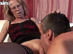 Horny German mature lady is home alone, smoking her cigarette waiting for a cock to arrive. She is so horny, she masturbates solo and once that long awaited cock arrives she can't take it out of her mouth or pussy.