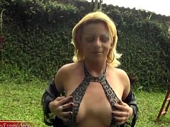 Hot blonde tranny Adma was dressed in sexy leopard print lingerie and black thigh high stockings. The combination of being naked, being observed and being outside seemed to just excite this vixen...
