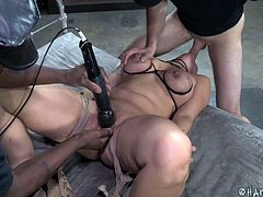 Kimmy is tied up really well by Maestro and Jack. Maestro crams her mouth with his cock, shoving it balls deep. She gets some time with the vibrator on her pussy, before getting bent over. Jack shoves a dildo on a stick in her mouth, until Maestro nails her from behind.