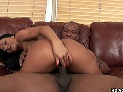 Sandra's desire for sex has only increased with her age, and one thing guaranteed to make her cum, is a chocolate stud with a big black sausage for her pussy. He tongues and fingers her, making her soaking wet, before he gets in her.